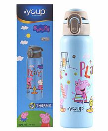 Youp Stainless Steel Bottle Peppa Pig Print Blue - 600 ml