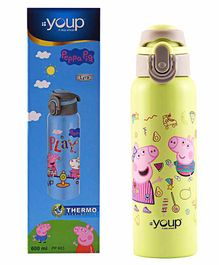 Youp Stainless Steel Bottle Peppa Pig Print Yellow - 600 ml