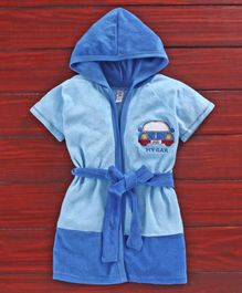 Pink Rabbit Half Sleeves Hooded Bath Robe Car Embroidery - Blue