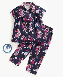 Fido Half Sleeves Night Suit Floral Print - Navy Blue