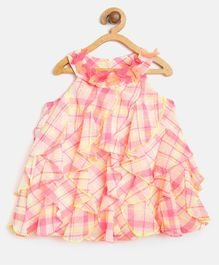 Nauti Nati Checkered Sleeveless Dress With Bloomer - Pink White & Yellow