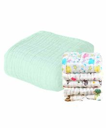 Mom's Home Muslin Towel & Wash Cloths Set Pack of 6 - Green
