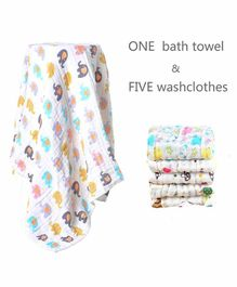 Mom's Home Muslin Elephant Printed Towel & Wash Cloths Set Pack of 6 - White