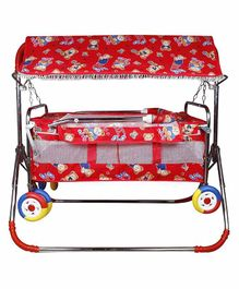 Maanit Cradle Cum Stroller With Canopy & Wheels Teddy Bear Print - Red