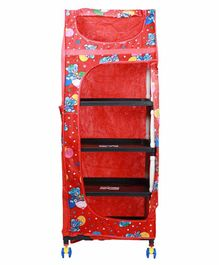 Maanit Foldable Collapsible Wardrobe with 5 Shelves - Red