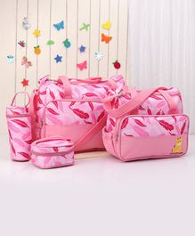 Diaper Bag with Lunch Box and Bottle Holder Feather Print - Pink