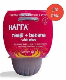 Happa Organic Baby Food Puree with Ragi & Banana - 220 g