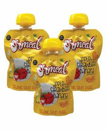 Ormeal Apple Strawberry Banana Purée Pack of 3 - 90 g  ( Each Pack)