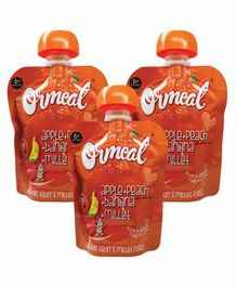 Ormeal Apple Peach Banana Millet Puree Pack of 3 - 90 gm ( Each Pack)