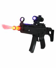 Fiddlerz Battery Operated Machine Gun Toy with Dynamic Sound and Real Smoke Effect for Kids - Black