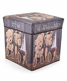FunBlast Multi Functional Folding Storage  Box Teddy Print - Brown