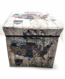 FunBlast Multi Functional Folding Storage  Box USA Print - Multicolor
