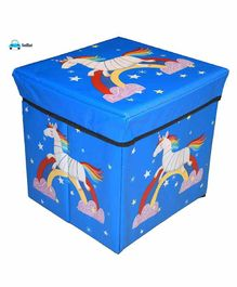 FunBlast Multi Functional Folding Storage  Box Unicorn Print - Blue