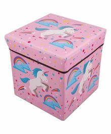 FunBlast Multi Functional Folding Storage  Box Unicorn Print - (Color may vary)