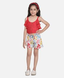 Fairies Forever Sleeveless Summer Top & Shorts - Red And White