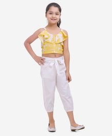 Fairies Forever Sleeveless Frill Top With Pants - Yellow And White