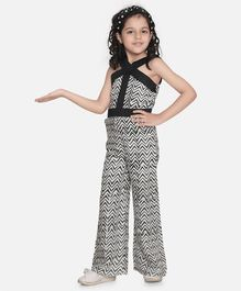 Fairies Forever Sleeveless Chevron Print Halter Style Jumpsuit - Black And White