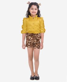 Fairies Forever Three Fourth Sleeves Shirt With Animal Print Shorts Set - Yellow And Brown