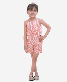 Fairies Forever Sleeveless Striped Front Bow Top With Shorts - Peach