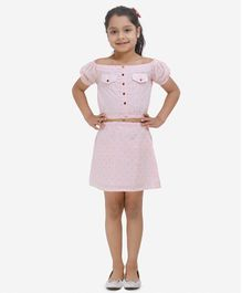 Fairies Forever Cap Sleeves Dot Print Skirt And Top Set - Pink