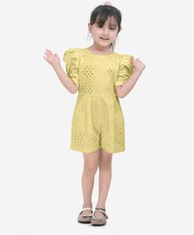Faires Forever Half Puffed Sleeves Eyelet Jumpsuit - Yellow