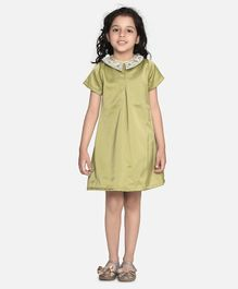 Fairies Forever Cap Sleeves Hand Embroidered Collar Dress For Party - Green