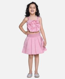 Fairies Forever Pleated Skirt And Sleeveless Frilled Top - Pink