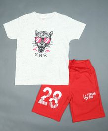 RAINE AND JAINE Tiger Print Half Sleeves Tee With Shorts - White & Red