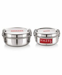 Hazel Stainless Steel Traditional Design Lunch Box Set of 2 -  500 ml & 700 ml