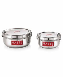 Hazel Stainless Steel Traditional Design Lunch Box Set of 2 -  350 ml & 700 ml
