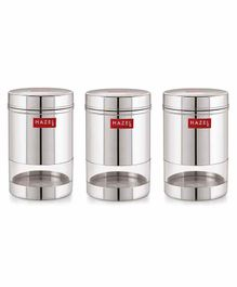 Hazel Stainless Steel Transparent Container Silver Set of 3 - 600 ml