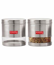 Hazel Transparent Stainless Steel & Plastic Snack Containers Set of 2 - 700 ml each