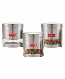 Hazel Transparent Stainless Steel & Plastic Snack Containers Set of 3 - 700 ml each