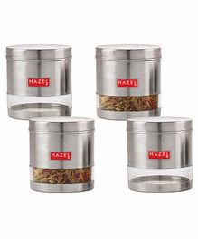 Hazel Transparent Stainless Steel & Plastic Snack Containers Set of 4 - 700 ml each