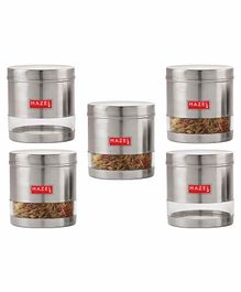 Hazel Transparent Stainless Steel & Plastic Snack Containers Set of 5 - 700 ml each