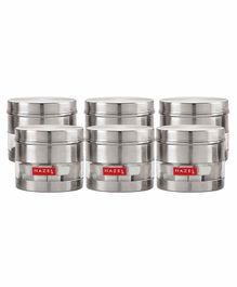 Hazel Stainless Steel Transparent Container Silver Set of 6 -  750 ml Each