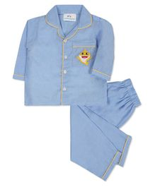 Knitting Doodles Full Sleeves Shark Embroidery Detailing Night Suit - Light Blue