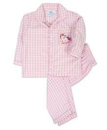Knitting Doodles Unicorn Embroidery Detailing Full Sleeves Checkered Night Suit - Pink