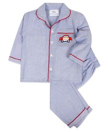 Knitting Doodles Car Embroidery Detailing Full Sleeves Striped Night Suit - Blue