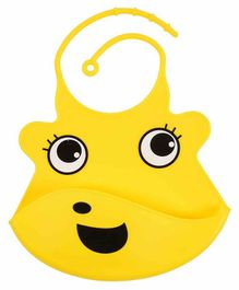 Yellow Bee Silicone Bibs with Adjustable Collar - Yellow