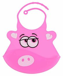 Yellow Bee Silicone Bibs with Adjustable Collar - Pink