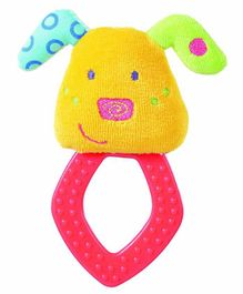 Babyfehn Grabber Plush Puppy with Rhombus Teether - Yellow