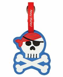 Stephen Joseph Luggage Tag Pirate Design - White Red