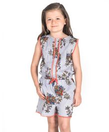 Cherry Crumble California Sleeveless Flower Print Jumpsuit - Blue