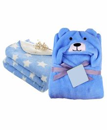 My New Born All Season Hooded Baby Wrapper & Blanket Set of 2 - Blue                                 Star Print Set of 2 -