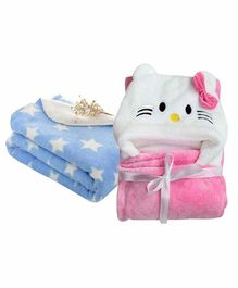 My New Born All Season Hooded Baby Wrapper & Blanket Star Print Set of 2 - Pink & Blue