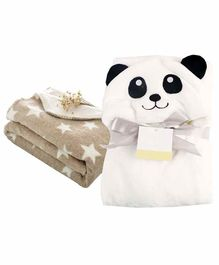 My New Born All Season Hooded Baby Wrapper & Blanket Star Print Set of 2 - White & Cream