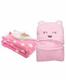 My New Born All Season Hooded Baby Wrapper & Blanket Star Print Set of 2 - Pink