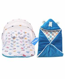 My New Born Baby Bedding Set with Mosquito Net & Hooded Wrapper - Blue