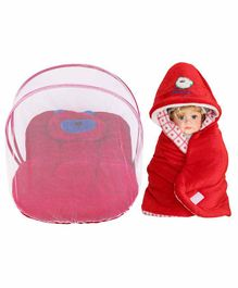 My New Born Baby Bedding Set with Mosquito Net & Hooded Wrapper - Red